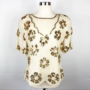 Stenay Vintage Cream and Gold Sequin Top Size XL
